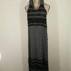 Poof Brand Black and Gray Sheer Long Dress M